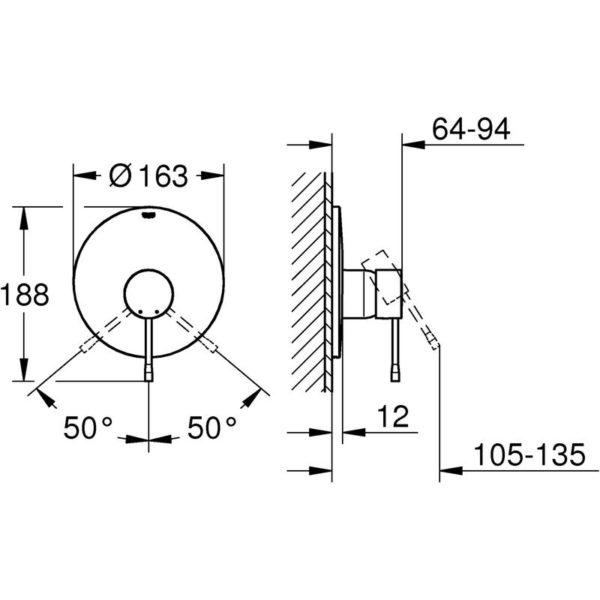 Zdjęcie Bateria prysznicowa podtynkowa Grohe Essence New 19286001 .