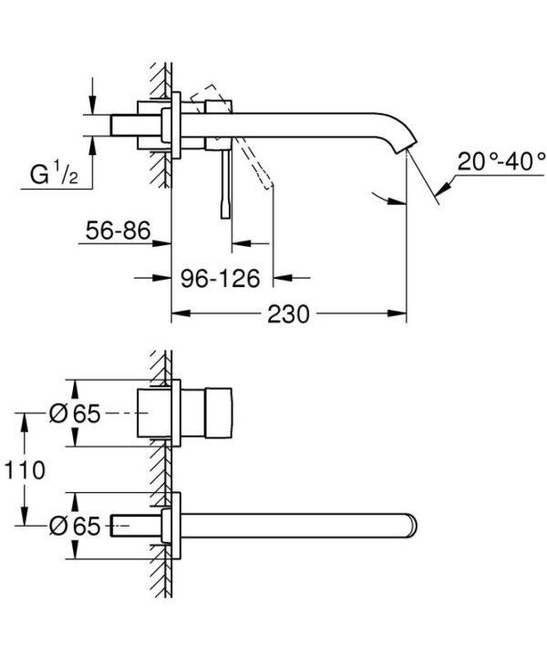 Zdjęcie GROHE Essence – 2-otworowa bateria umywalkowa do ściennego montażu podtynkowego L 230 mm hard graphite 19967A01 .