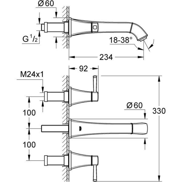 Zdjęcie GROHE Grandera – 3-otworowa bateria umywalkowa do montażu podtynkowego 20415IG0