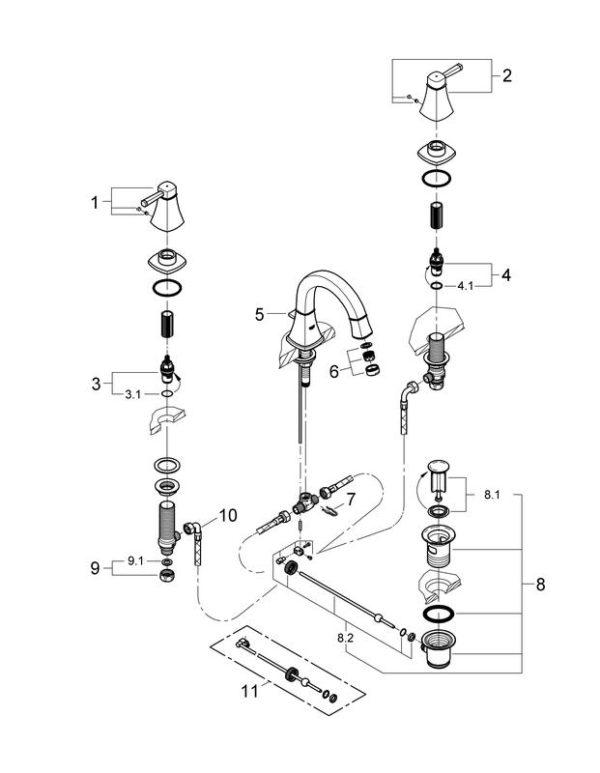 Zdjęcie Bateria umywalkowa 3-otworowa stojąca Grohe Grandera Chrom 20417000