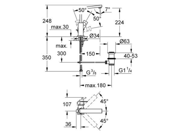 Zdjęcie Bateria umywalkowa Grohe Eurocube, DN 15, 23135 .