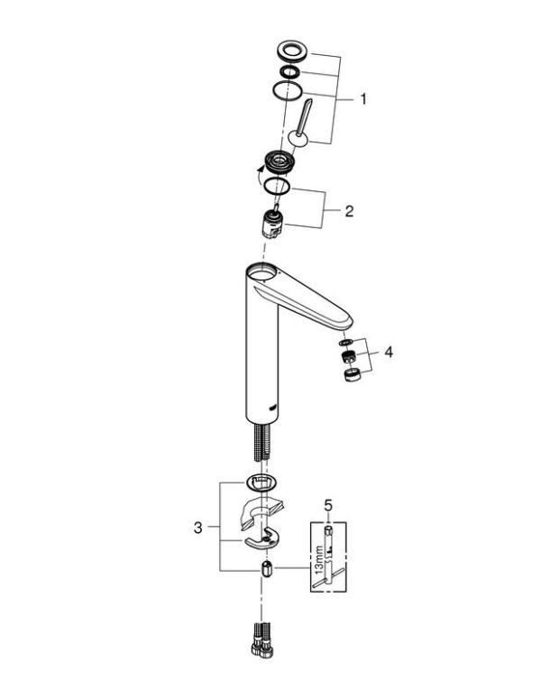 Zdjęcie Bateria umywalkowa wysoka Grohe Eurodisc Joystick Chrom 23428000