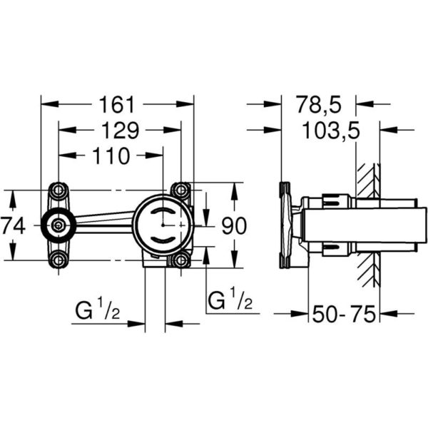 Zdjęcie GROHE Eurodisc Joy – element podtynkowy baterii 2-otworowej 23429000 .