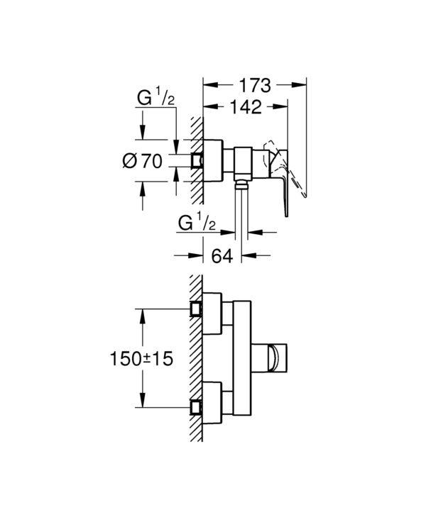 Zdjęcie GROHE Lineare – jednouchwytowa bateria prysznicowa 33865001