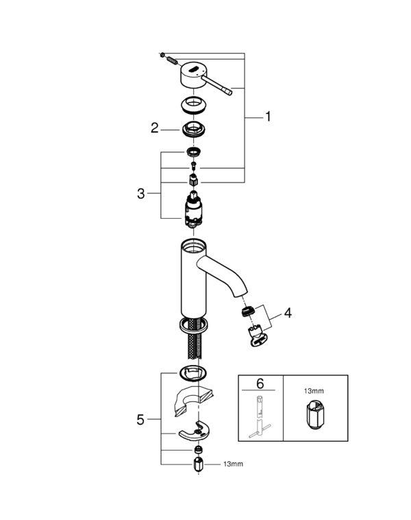 Zdjęcie Bateria umywalkowa jednouchwytowa GROHE Essence Brushed Hard Graphite Grafit 23590AL1 .