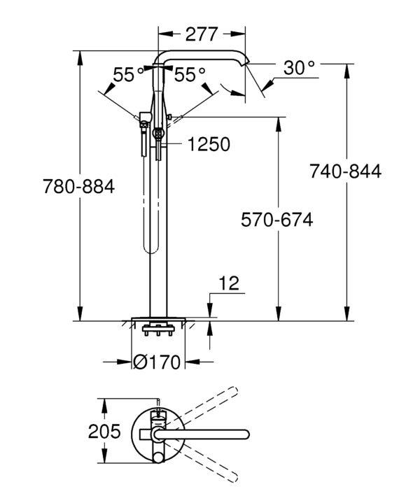 Zdjęcie Bateria wannowa do montażu podłogowego z zestawem punktowym GROHE Essence Brushed Hard Graphite Grafit 23491AL1 .