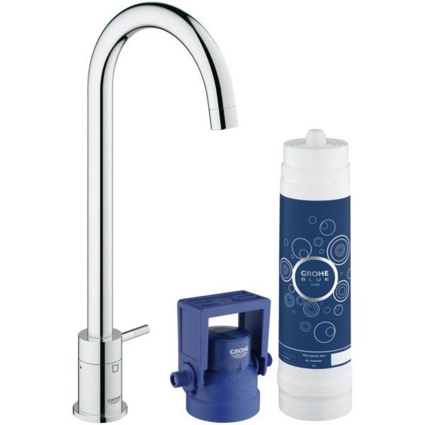 Zdjęcie GROHE Blue Mono Pure – Zestaw startowy z zaworem sztorcowym filtrującym wodę Chrom 31301001