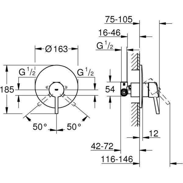 Zdjęcie GROHE Concetto – jednouchwytowa bateria prysznicowa do montażu podtynkowego 32213001