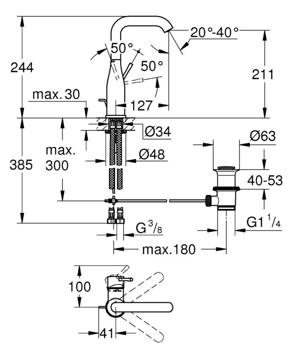 Zdjęcie Bateria umywalkowa jednouchwytowa GROHE Essence New Brushed Hard Graphite Grafit 32628AL1 .