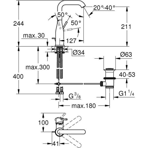 Zdjęcie Bateria umywalkowa Grohe Essence New L Chrom 32628001 .