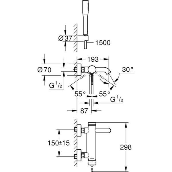 Zdjęcie GROHE Essence New – jednouchwytowa bateria wannowa z zestawem punktowym 33628001 .