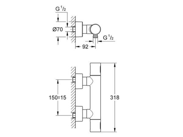 Zdjęcie Bateria natryskowa termostatyczna Grohe Grohtherm 3000 C 34274000
