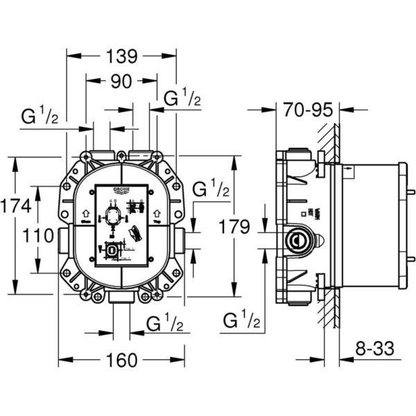 Zdjęcie GROHE Rapido T – podtynkowy element termostatyczny 35500000 .