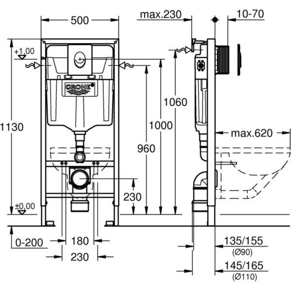 Zdjęcie GROHE Rapid SL 3 in 1 – stelaż podtynkowy do montażu WC ściennego 38722001 .