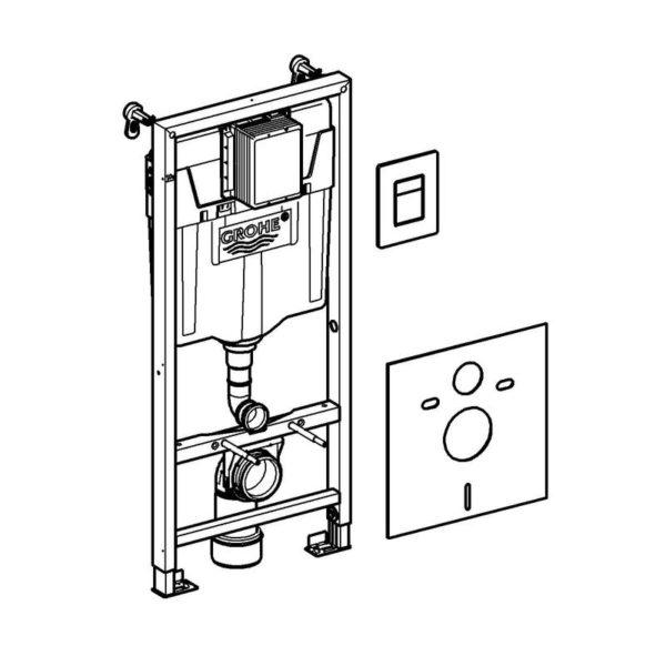 Zdjęcie GROHE Rapid SL  Stelaż 5w1 – system instalacyjny z ramą montażową, kątownikami ściennymi, matą wyciszającą, zestawem adaptacyjnym GROHE Fresh i przyciskiem spłukującym Skate Cosmopolitan 38827000
