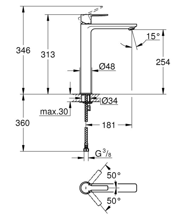 Zdjęcie GROHE Lineare – jednouchwytowa bateria umywalkowa XL do umywalek wolnostojących Chrom 23405001 .