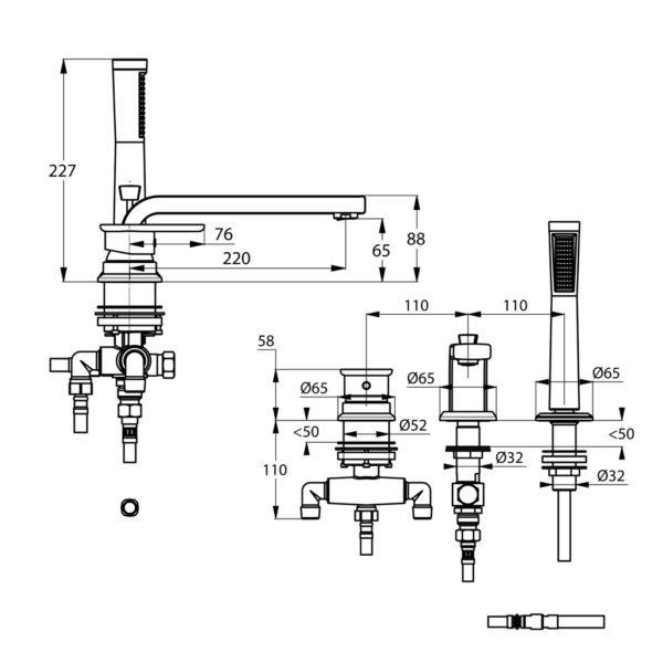 Zdjęcie Jednouchwytowa bateria wannowo-natryskowa Kludi E2 trójotworowa dł. wyl. 220 mm 494470575
