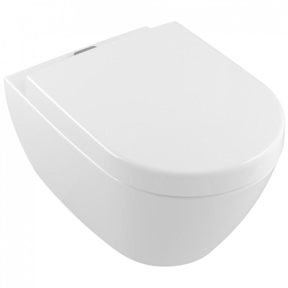 Miska wc bezrantowa Villeroy & Boch Subway 2.0  z pojemnikiem na kostki fresh 37 x 56 cm Weiss Alpin 5614A101 + Deska WC wolnoopadająca 9M68S101