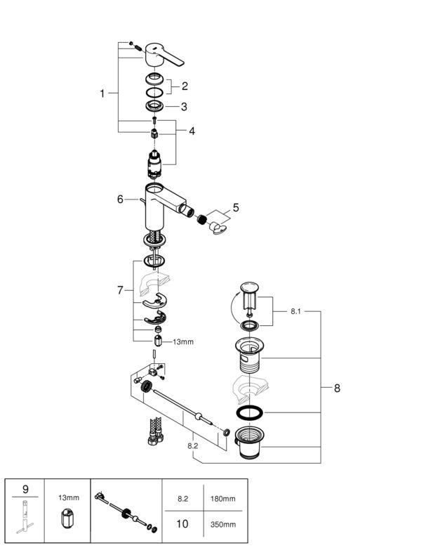 Zdjęcie GROHE Lineare – jednouchwytowa bateria bidetowa Chrom 33848001 .