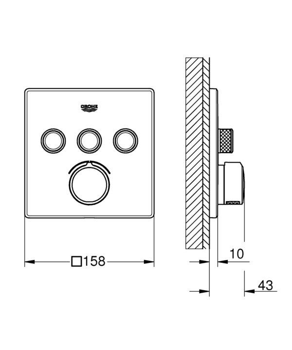 Zdjęcie GROHE SmartControl – bateria podtynkowa do obsługi 3 wyjść wody 29149000 .
