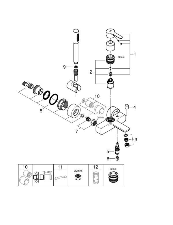 Zdjęcie GROHE Lineare – jednouchwytowa bateria wannowa z zestawem punktowym Chrom 33850001 .