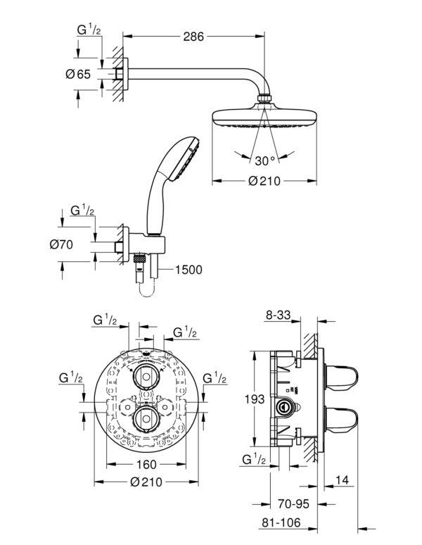 Zdjęcie GROHE Grohtherm 1000 – system natryskowy z podtynkową baterią termostatyczną 34614001 ^