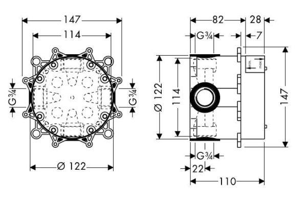 Zdjęcie Bateria prysznicowa podtynkowa Hansgrohe Metris S 31665000