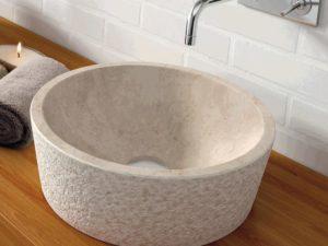 Umywalka kamienna nablatowa Bathco Dual Beige 00307