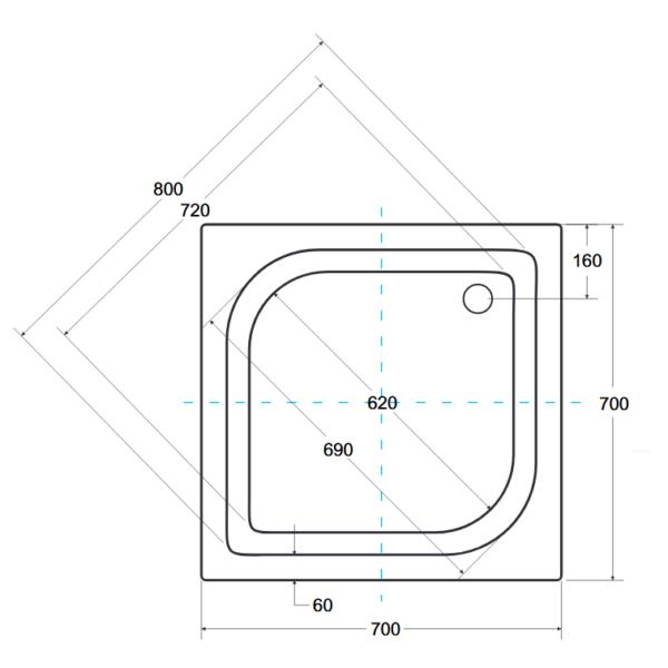 Zdjęcie Panel do brodzika kwadratowy Besco Ares 70 biały 70×70 OAA-70-KW