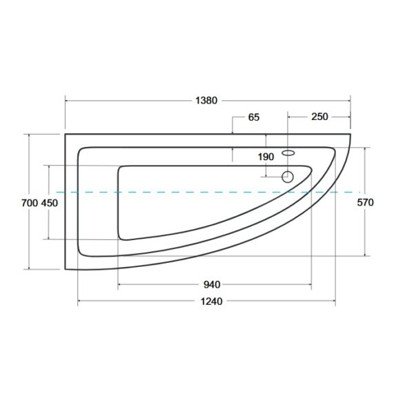 Zdjęcie Wanna narożna asymetryczna Besco Praktika 140 Lewa 140x70cm WAP-140-NL