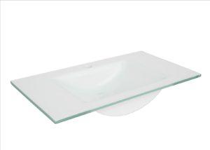 Umywalka meblowa Defra szklana biała 80 3074