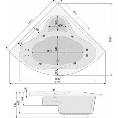 Zdjęcie Wanna narożna symetryczna Pool-Spa Francja 150x150cm PWS34..ZS000000