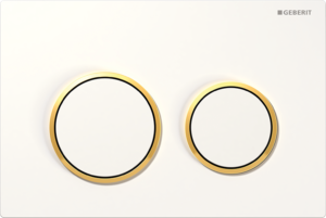 Przycisk spłukujący Geberit Omega20 biały/złocony 115.085.KK.1