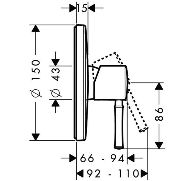 Zdjęcie Bateria prysznicowa podtynkowa Hansgrohe Talis Classic 14165000