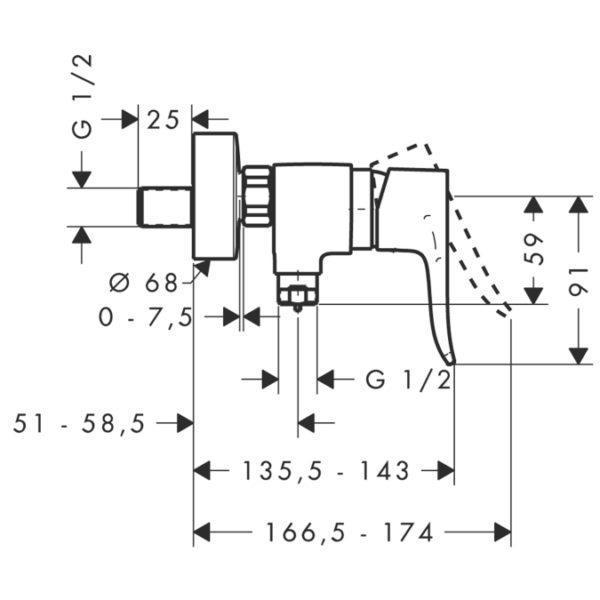 Zdjęcie Bateria prysznicowa jednouchwytowa Hansgrohe Metris E2 31680000