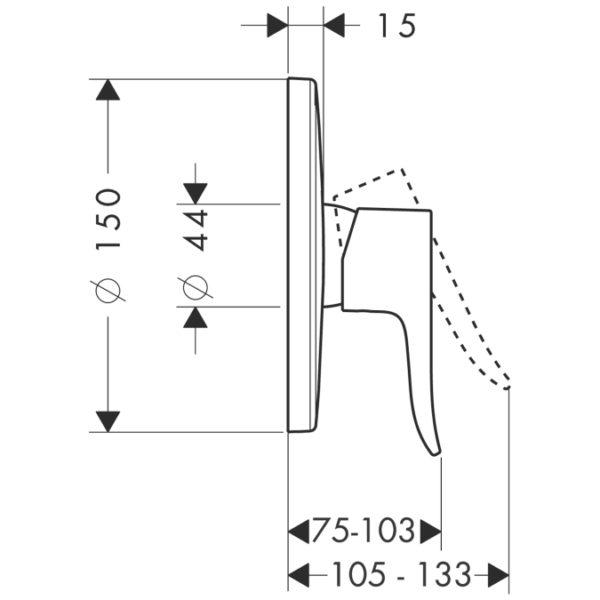 Zdjęcie Bateria prysznicowa podtynkowa jednouchwytowa Hansgrohe Metris E2 31685000