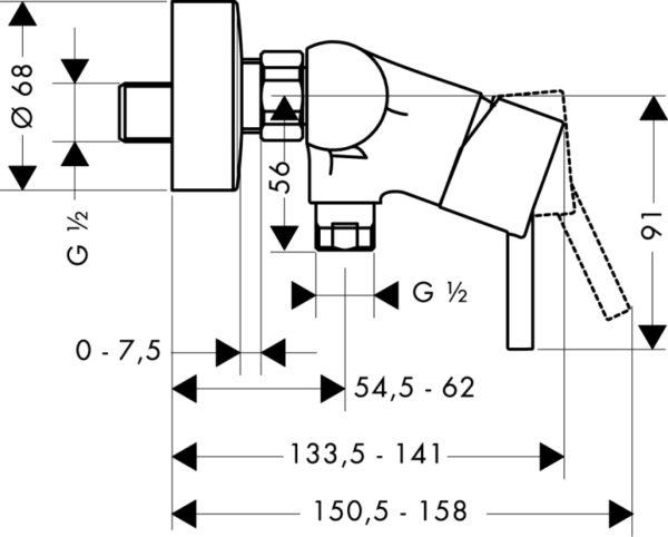 Zdjęcie Bateria prysznicowa jednouchwytowa Hansgrohe Talis S2 32640000
