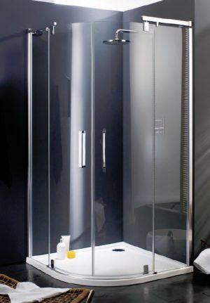 Kabina skrzydłowa ze stałymi segmentami 2-częściowa 1/4-koła Huppe Refresh 90x90cm 9P1202.087.322 Anti-plaque