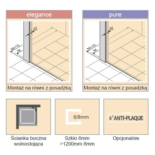 Zdjęcie Ścianka boczna wolnostojąca Huppe Design elegance 75cm 8E1112.087.322 Anti-plaque