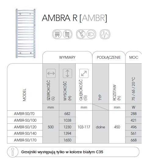 Zdjęcie Grzejnik łazienkowy Instal-Projekt Ambra R AMBR-50/170 biały