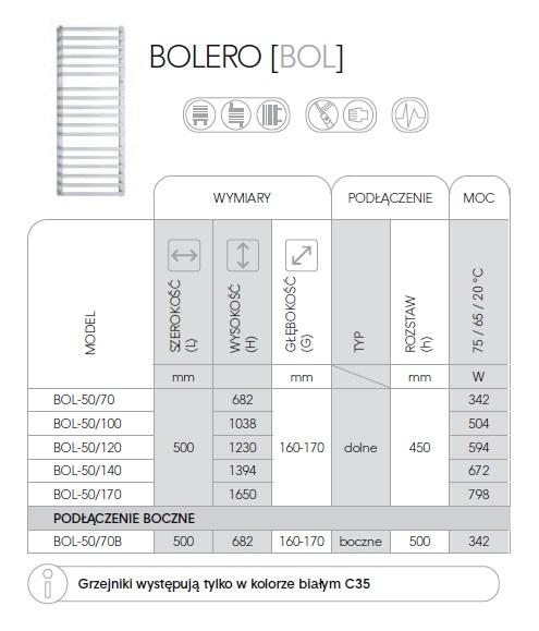 Zdjęcie Grzejnik łazienkowy Instal-Projekt Bolero BOL-50/100 biały