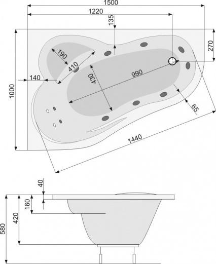Zdjęcie Wanna narożna Pool-Spa Leda asymetryczna 150x100cm Prawa PWAE4..ZN000000
