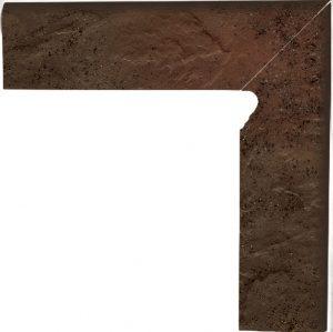 Cokół dwuelementowy  schodowy Paradyż Semir Brown lewy 30x8,1x1,1