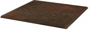 Stopnica ryflowana narożna  Paradyż Semir Brown 30x30x1,1