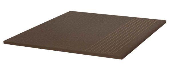 Stopnica ryflowana Paradyż 300x300x11 prosta strukturalna Natural Brown Duro