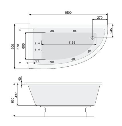 Zdjęcie Wanna narożna asymetryczna Pool-Spa Laura Lewa 80x140cm PWANH..ZN000000