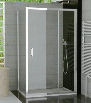 Drzwi jednoczęściowe ze ścianką stałą SanSwiss Ronal Top-Line 140cm połysk TED14005007 @