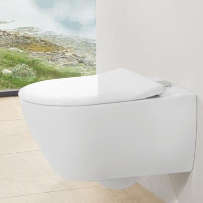 Miska wc bezrantowa Villeroy & Boch Subway 2.0  z pojemnikiem na kostki fresh 37 x 56 cm Weiss Alpin 5614A101 + Deska WC Slimseat 9M78S101
