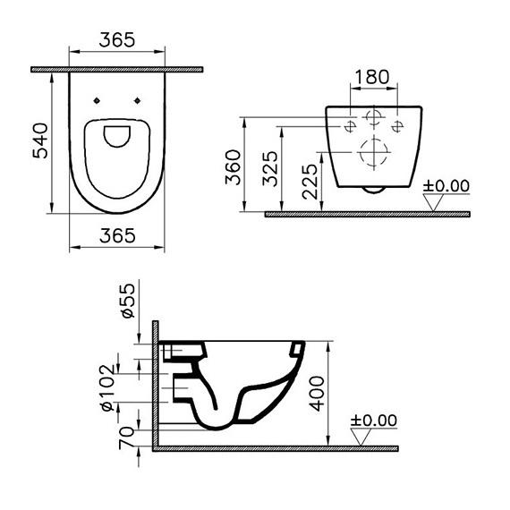 Zdjęcie Miska WC wisząca + deska wolnoopadająca Vitra Sento RIM-EX bezrantowa 7748B003-0075+100-003-009