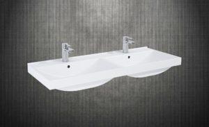 Umywalka dwukomorowa wpuszczana w blat Elita MAXXI 120 Duo Ceram Biała 120x46cm 145825